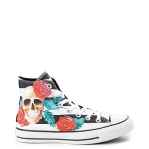 Converse Hi Top Striped Skulls and Roses Sneakers